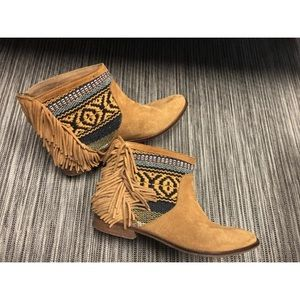 ZARA Brown Fringe Suede Tribal Ankle Flat Boots6.5